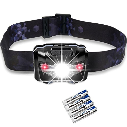 Price comparison product image LED Headlamps Flashlight,  Zukvye Cree Headlamp with Red Lights,  Waterproof Head Light for Running,  Camping,  Reading,  Kids,  DIY & More - 4 AAA batteries included(black)