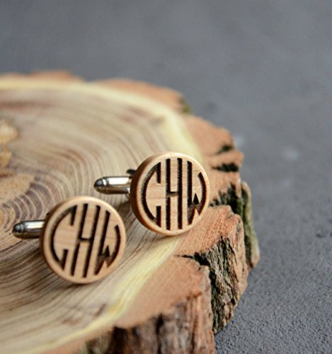 Cufflinks Guy Gift - Personalized Monogram Gift Wooden Cufflinks Engraved Custom Cuff links Business Man Gift for Guy Men Anniversary Husband gift for Boss - By Enjoy The Wood - Wedding cufflinks for groom