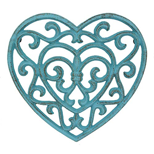Stonebriar Country Rustic Denim Blue Heart Shaped Cast Iron Trivet