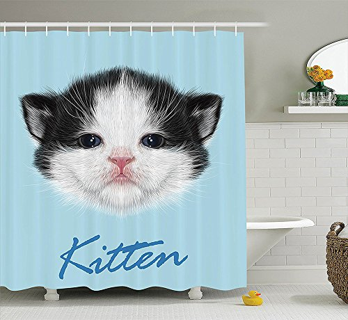 Cartoon Decor Collection Portrait of Domestic Kitten Newborn Bicolor Fury Head Pink Wet Nose Artsy Graphic Polyester Fabric Bathroom Shower Curtain Black White ()