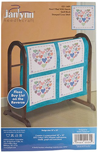 Janlynn 21-1489 Heart Filled with Hearts Quilt Blocks Stamped Cross Stitch, 18 by 18-Inch, 6-Pack
