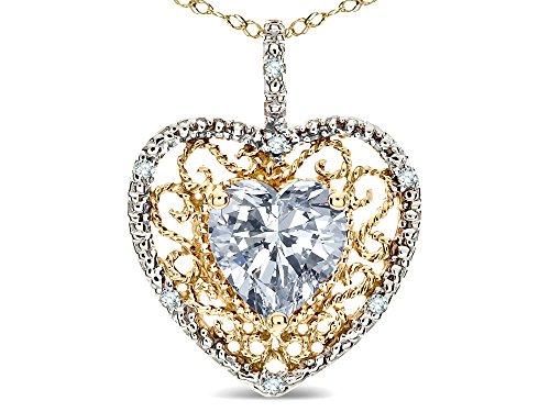 - Star K Heart Shape 8mm Genuine White Topaz filigree Heart Pendant Necklace 10k Yellow Gold
