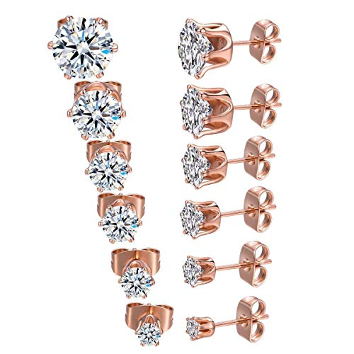 (6 Pairs 18K Rose Gold Plated CZ Stud Earrings Simulated Diamond Round AAA Cubic Zirconia Ear Stud Set (3-8mm) (Rose gold) )