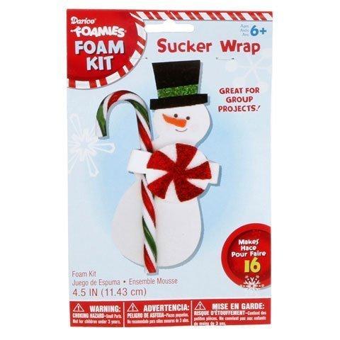 Foamies Foam Snowman Sucker or Candy Cane Wrap kit for kids-makes 16
