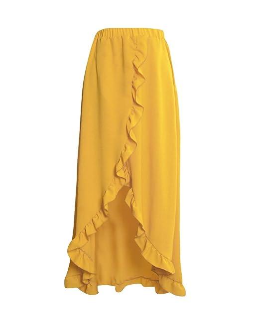 Falda Asimétrica Irregular De Las Mujeres, Largo Maxi Skirt Faldas De Fiesta Amarillo S