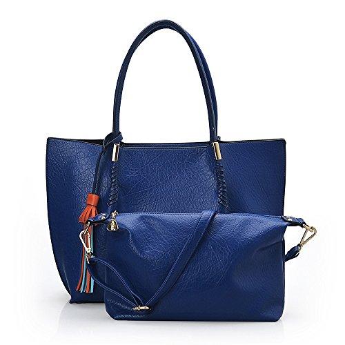 Jieeme - Bolso al hombro de poliuretano para mujer Azul