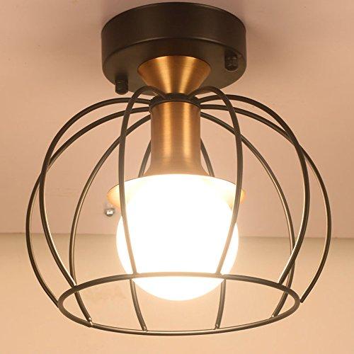 Pionthx Rétro Américain Ajouré En Métal Plafond Luminaire Personnalité Seule Tête Creux Fer Cage Plafonnier Lampe Bureau Salon Bar Sous-Sol Plafond éclairage
