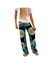 Womens Casual Wide Leg Long Pants Palazzo Trousers Floral Print Tribal