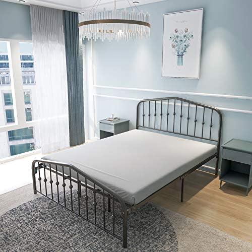 Metal Bed Queen Size Platform Bed Frame Morden Design Heavy Duty Steel Slat and Support, Black 51QfCtwbvoL