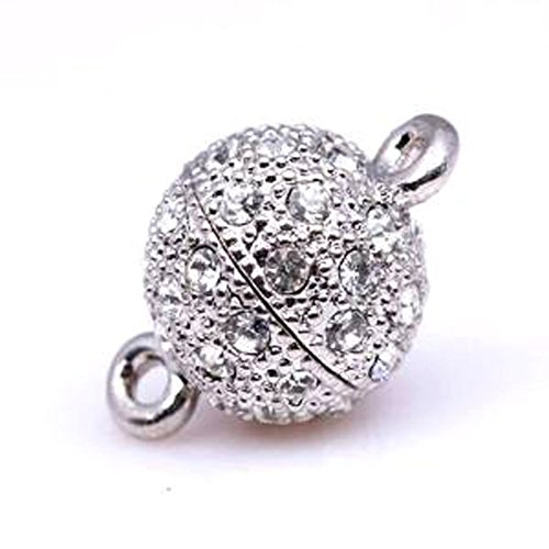 GEM-inside AAA Grade Ball Round Pave Screw Clasps 1set with CZ White Gold Plated Clasp Necklace Bracelet (Pave Clasp Ball)