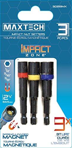 Maxtech 50359MX Impact Zone Magnetic Nutsetter Set, 3-Piece ()
