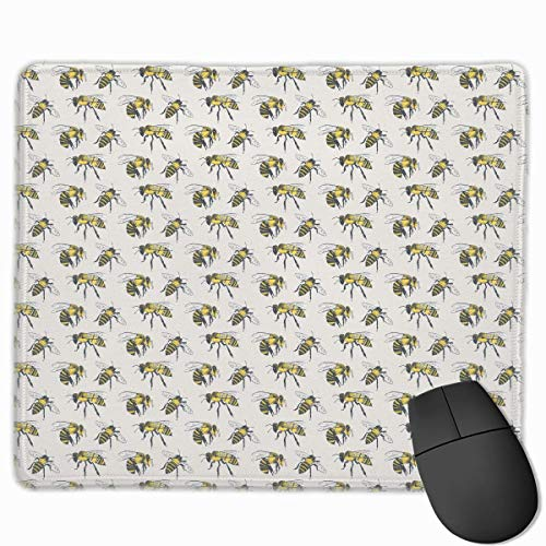 Bumblebee Fly Quality Comfortable Game Base Mouse Pad with Stitched Edges Size 11.81 9.84 Inch -