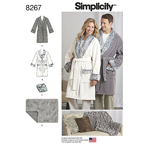 Mens Robe Sewing Pattern (Simplicity Sewing Pattern D0589 / 8267 - Misses', Men's and Teens' Robes, Blanket and Pillow, A (XS-S-M-L-XL))