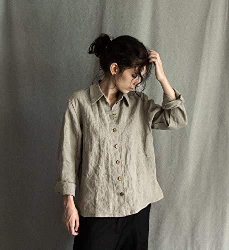 Women's linen shirt in natural grey color, -