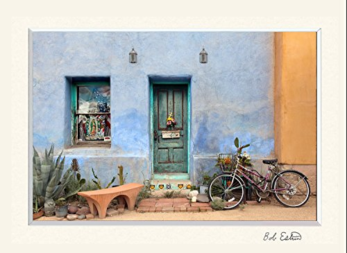 Frame Picture American West (11 x 14 mat including photograph of colorful American Southwest urban scene with a green wood door, bike, cactus and blue adobe wall.)