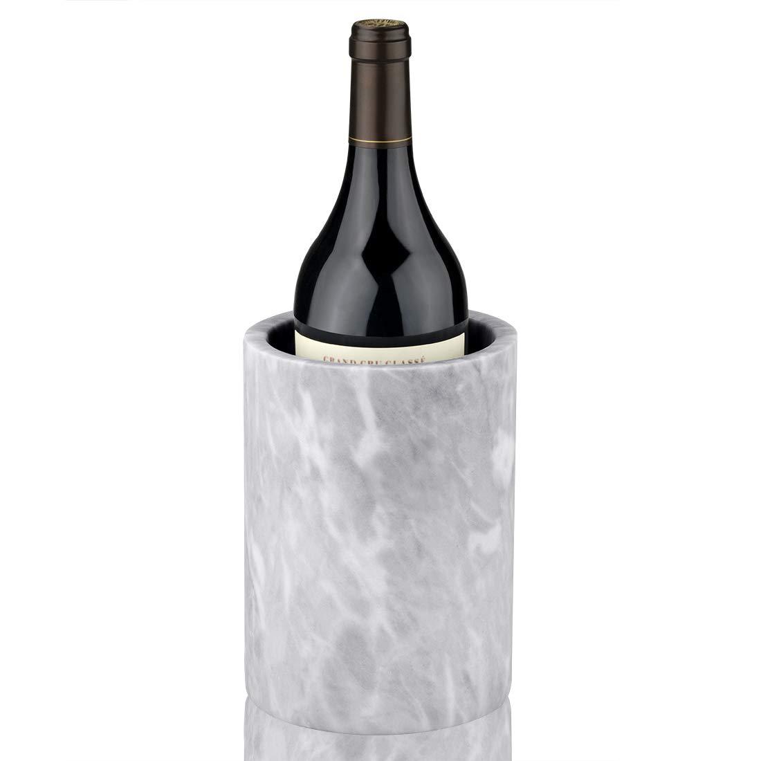 Linkidea Marble Wine Chiller Bucket, Large Enhanced Insulated Cooler for White Wine or Champagne Bottles, Flower Vase/Pot, Storage Holder, Kitchen Utensil Holder, House Decor (White)