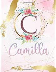 Camilla: Personalized Sketchbook with Letter C Monogram & Initial/ First Names for Girls and Kids. Magical Art & Drawing Sketch Book/ Workbook Gifts for Her (Artists & Illustrators) to Create & Learn to Draw - Girly Rose Gold Watercolor Cover.