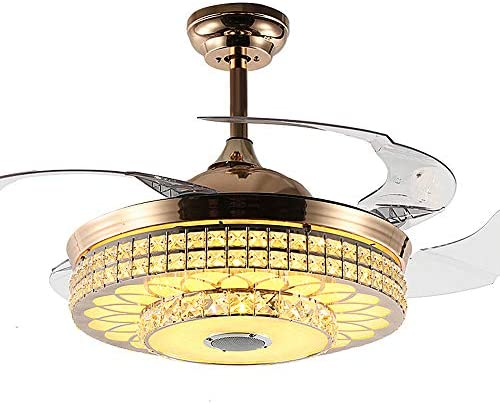 42 Indoor Luxury Bluetooth Crystal Ceiling Fans with Light Retractable Blades Fan, Remote Control 3 Colors Switch 3 Speeds Music Player Chandelier, Silent Motor Fan and LED Light Kits Included