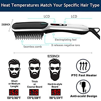 Beard Straightener - Professional Hair Straightening Brush - with Double Negative ions Anti-Scald Faster Heating Feature, Auto Temperature Lock and Auto-Off Function Electric Dual Voltage(100V-240V)