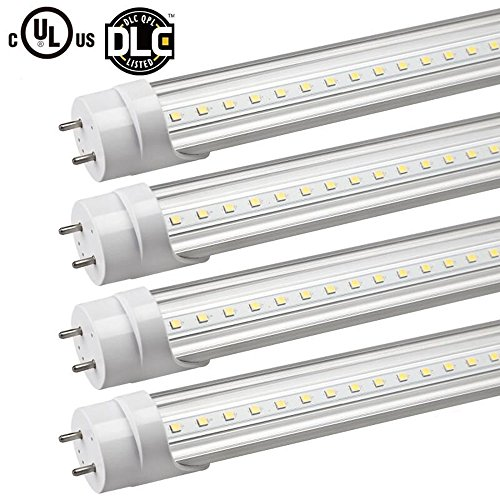 SDYK 4Pack,Type B T8 LED Tube Light, 4ft 18W (40W eq), 2250lm ,BY-PASS (AC direct), Single-ended power input, G13,Clear Cover, 5000 kevin, UL& DLC