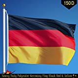 G128 Germany Flag 3x5 ft Printed Brass Grommets 150D Quality Polyester Flag Indoor/Outdoor - Much Thicker and More Durable than 100D and 75D Polyester