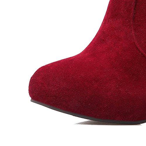 AllhqFashion Mujeres Sólido Tacón Alto Puntera Redonda Gamuza(Imitado) Cremallera Botas Rojo