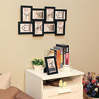 """SONGMICS Picture Frames Collage for 8 Photos in 4"""" x 6"""" and 1 Single Frame, Display Wood Grain, Glass Front, Assembly Required, Black URPF08B"""