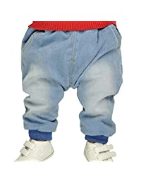 Iceybaby Jeans Baby Trousers Pure Cotton Belt Elastic Knitted Jean