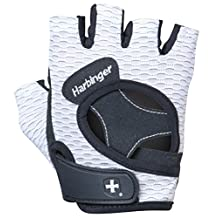 Harbinger Women's FlexFit Weightlifting Gloves with Flexible Cushioned Leather Palm (Pair), White, Large