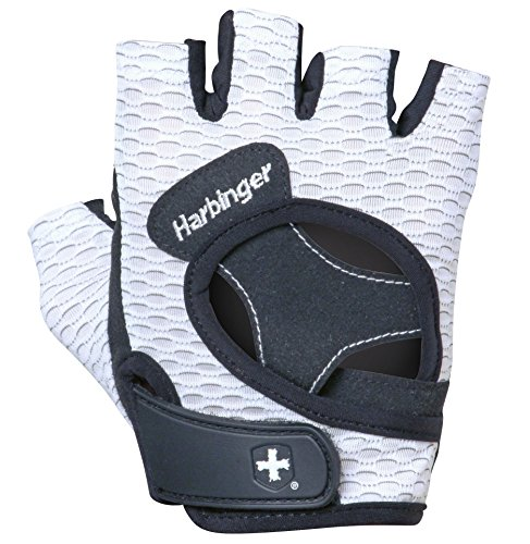 (Harbinger 13929 Women's Flexfit Weightlifting Gloves with Flexible Cushioned Leather Palm (Pair), White, Medium)