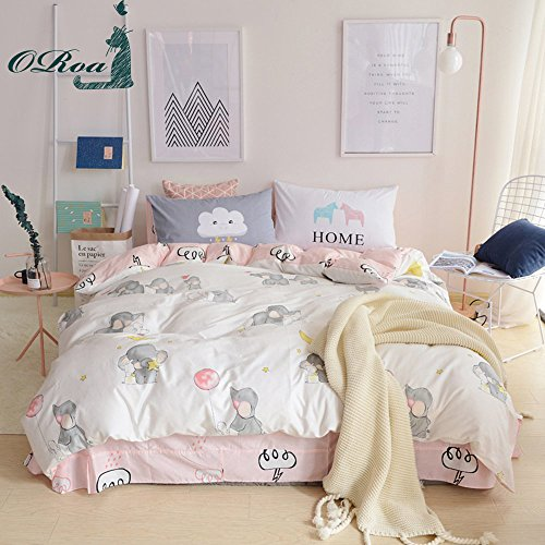 ORoa New Cartoon Animals Elephant Print Duvet Cover Set for Kids Girls 100% Cotton Reversible Soft 3 Pieces Kids Bedding Duvet Cover Pillowcases,Twin New 20 Animal Print