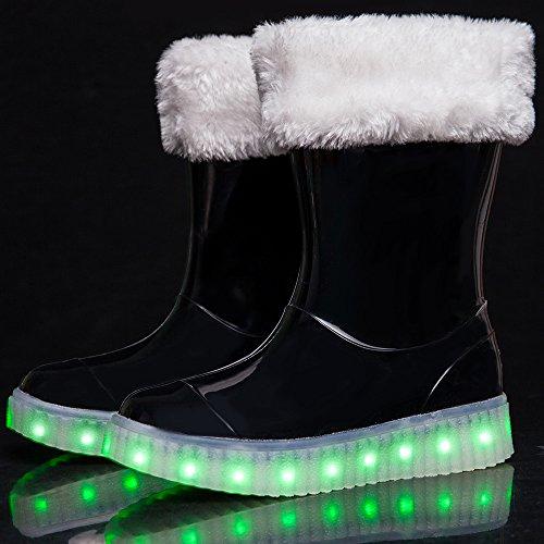 VILOCY Kinder Mädchen 7 LED Beleuchtung Blinken SchneeGummistiefel Jungen Knöchel Herausnehmbar Pelz Gefüttert Knöchel Regen Boot Schuhe 2 Trägt IM Schwarz
