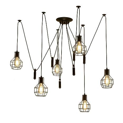 Retro Stile industriale Lampadario Spider Lamp Vintage Lampade a  sospensione Nero Ferro Gabbia E27 Plafoniera Fai