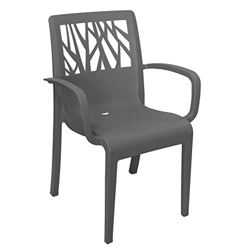 Grosfillex US201002 Vegetal Stacking Armchair, Charcoal Case of 16