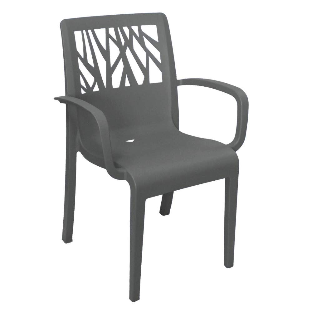 Grosfillex US203002 Vegetal Stacking Armchair, Charcoal (Case of 4)