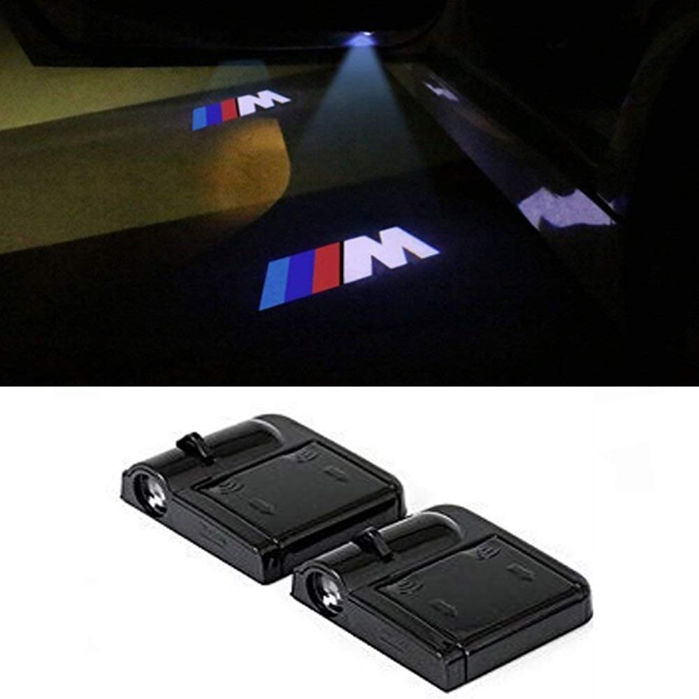 M logo Wireless Car Door Led Welcome Laser Projector, No Drill Type Logo Light For BMW 1 3 5 7 Series E30 E36 E46 E34 E39 E60 E65 E38 X1 X3 X5 X6 Z3 Z4 Yuanxi Electronics