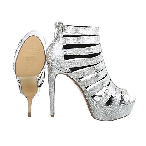 Ital-Design High Heel Sandaletten Damenschuhe Pfennig-/Stilettoabsatz Heels Reißverschluss Sandalen & Silber K1L9850-7