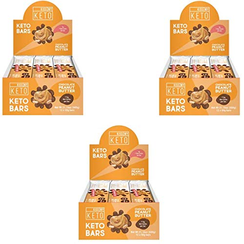 Kiss My Keto Snacks Keto Bars – Keto Chocolate Peanut Butter (3 Pack, 36 Bars), Nutritional Keto Food Bars, Paleo, Low Carb/Glycemic Keto Friendly Foods, All Natural On-The-Go Snacks, 3g Net