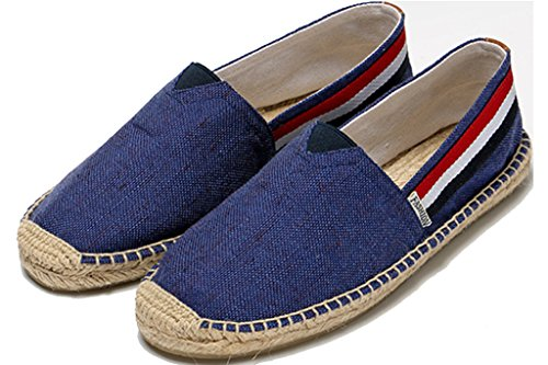 Fashion Espadrille Shoes Canvas Casual Slip On Loafer Blue Men's IVANCA Flat A5wpq