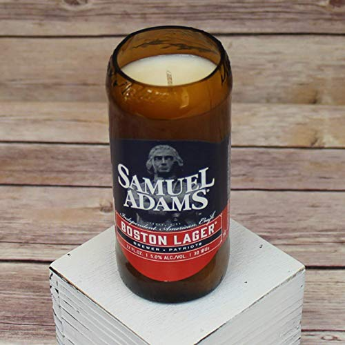 Samuel Adams Boston Lager Glass Beer Bottle Soy Candle with Custom Scent