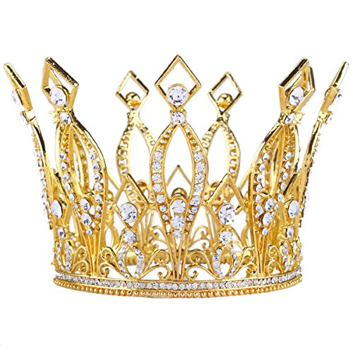 Stuffwholesale 4inch Height Queen Crown Austrian Rhinestone Gold Tiara Crown Bridal Wedding Hair Accessory -