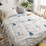 KFZ Cotton Quilt Comforter Cotton Bedspread Bed Cover for Bedding Set CJF SXM Twin Full Queen Size Rabbit Dog Apple Pie Watermelon Design for Kids 1pc (Plant Tree, Blue, Queen 78''x91'')