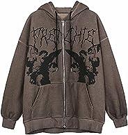 Kookmean Hoodies for Women, Women's Y2K Vintage Graphic Zip Up Hoodie Aesthetic Pullover Sweatshirt Casual