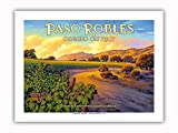 Pacifica Island Art - Paso Robles - Geneseo District - Central Coast AVA Vineyards - California Wine Country Art by Kerne Erickson - Premium 290gsm Giclée Art Print 12in x 16in