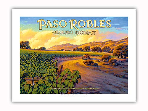 Pacifica Island Art - Paso Robles - Geneseo District - Central Coast AVA Vineyards - California Wine Country Art by Kerne Erickson - Premium 290gsm Giclée Art Print 12in x 16in by Pacifica Island Art (Image #1)