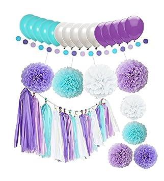 Amazon.com: 44 piezas de adornos de sirena morado lavanda ...