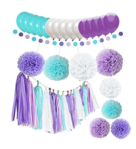Purple And Turquoise Decorations (44 pcs Mermaid Decorations Purple Lavender White Turquoise Paper Pom Poms Flowers Tissue Tassel Garland Polka Dot Paper Garland kit with 12