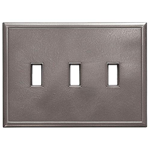 (Triple Toggle Light Switch Plates Questech Screwless Wall Plate Covers | No Visible Screws (Brushed Nickel))
