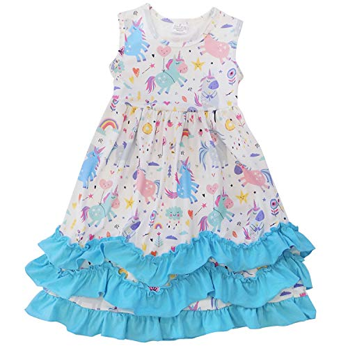 (So Sydney Toddler Girls Flutter Short Sleeve or Lace Tank Cascading Ruffle Dress (XXXL (8), Rainbows &)