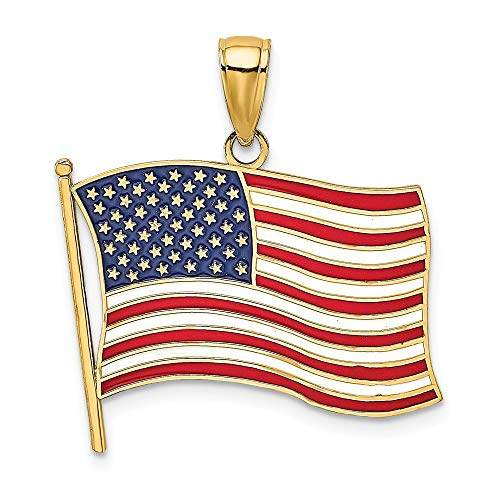 14K Yellow Gold with Enamel American Flag Charm Necklace Pendant with 18